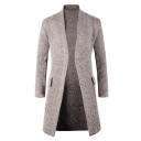 Mens New Fashion Long Sleeve Open Front Casual Khaki Longline Knitted Cardigan Coat
