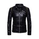Mens Vintage Embroidery Printed Long Sleeve Zip Up Slim Fitted Black PU Leather Jacket