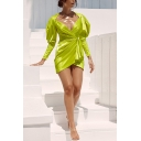 Womens Sexy Fluorescent Green Plain Puff Long Sleeve V-Neck Ruched Slim Fitted Mini Surplice Wrap Dress