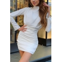 Ladies New Stylish Flared Long Sleeve High Neck Plain Shirred Bodycon Mini Dress
