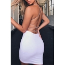 Ladies Summer Sexy Plain Criss Cross Back Mini Party Strap Dress