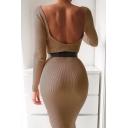Womens Fashionable Plain Khaki Long Sleeve Square Neck Backless Casual Midi Dress