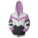 New Arrival Colorblocked Geometric Printed Zip Up Cosplay Sports Hoodie in White