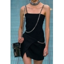 Womens Cool Chain Decoration Slit Detail Plain Black Mini Slip Dress for Party