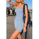 Womens Casual Plain Light Blue Stringy Selvedge Trim Spaghetti Strap Mini Ruched Party Dress