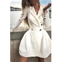 Womens Popular Notched Lapel Double Breasted Long Sleeve Solid Color Mini A-Line Blazer Dress