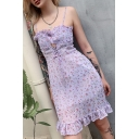 Purple Unique Floral Printed Lace Up Detail Ruched Zip Back Vintage Midi A-Line Cami Dress