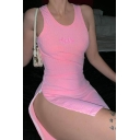 Edgy Girls HELLO Embroidery Letter Round Neck Side Zip Night Club Pink Mini Fitted Tank Dress