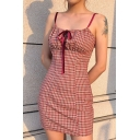 Girls Popular Red Check Printed Tied Front Backless Leisure Mini A-Line Strap Dress