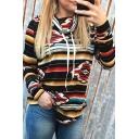 New Fashion Color Block Stripes Geometric Printed Heaps Collar Arc Hem Long Sleeve T-Shirt Sweatshirt