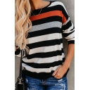New Arrival Contrast Stripes Printed Boat Neck Long Sleeve Black Loose T-Shirt