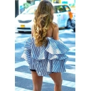 Ladies Chic Blue Pinstripes Print Off the Shoulder Long Sleeve Casual Ruffles Blouse