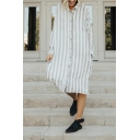 Womens Simple Gray Striped Print Long Sleeve Single Breasted Casual Thin Shirt Mini Dress
