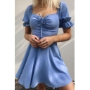 Edgy Fashion Plain Blue Puff Short Sleeve Sweetheart Ruched Tied Front Flowy Mini A-Line Dress