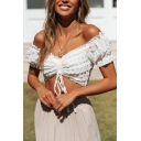 Womens Sexy Fashion Off the Shoulder Short Sleeve Ruched Drawstring Plain White Crop Top