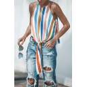 Womens Fashionable Colorful Stripe Printed Tied Front Sleeveless Keyhole Back Slim Fitted Tank Top