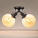 Global Semi Flush Mount Light Industrial Metal and Amber/Clear Glass 2 Heads Indoor Ceiling Lighting in Black/Bronze