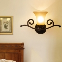 Opal Glass Black Vanity Sconce Bell 1/2 Lights Classic Wall Mounted Lighting