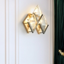 Gold Rhombus Shaped Wall Sconce Modern Style 3 Lights Clear Crystal and Metal Sconce Light Fixture