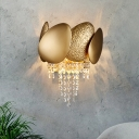 Golden Egg Shaped Wall Lighting Modernist 2 Lights Metal Sconce Light with Clear Crystal Draping
