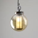 Tan Glass Globe Pendant Light Fixture Antique Style 1 Head Hanging Lamp Kit with Inner Cylinder Glass Shade