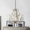 Country Style Pendant Light with Blue Crystal Drop 6 Lights Metal Chandelier Lamp with 19.5