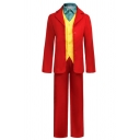Mens Popular Joker Cosplay Red Long Sleeve Skinny Blazer Coat with Pants Three Piece Suit Set