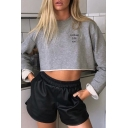 Trendy Grey Women's Long Sleeve Crew Neck COURUGE JUST WAIT Letter Print Flared Crop Top
