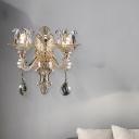 Flower Sconce Light Modernism Clear Glass 1/2 Heads Living Room Wall Mounted Light