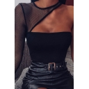 Sexy Stylish Girls' Long Sleeve One-Shoulder Cut Out Black Mesh See Through Slim Crop T-Shirt for Pub