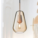 Conical Coffee Glass Suspension Pendant Postmodern 1 Head Hanging Lamp Kit for Dining Room