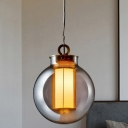 Spherical Pendant Lighting Nordic Smoke Gray Glass 1 Head Bedroom Hanging Lamp with Cylinder White Glass Shade Inside