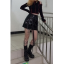 Women's Black Cool High Waisted Zip Front Buckle Belted Leather Tight Mini A-Line Skirt with Pockets