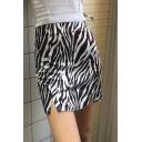 Edgy Girls Black High Waist Zip Back Zebra Printed Slit Fit Mini A-Line Skirt