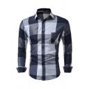 Mens Stylish Plaid Lattice Pattern Turndown Collar Patched Pocket Long Sleeve Button-Up Shirt