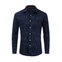 Designer Printed Long Sleeve Single Breasted Leisure Navy Blue Shirt for Men
