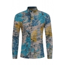 Mens Designer Colorful Tree Print Long Sleeve Button Up Vintage Shirt