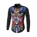 Chinese Style Peking Opera Characters Print Long Sleeve Button Up Fitted Shirt