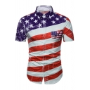 Metrosexual Mens Classic Star Stripe Pattern Flag Splicing Short Sleeve Button Up Slim Shirt