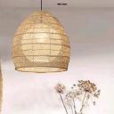 Adjustable Woven Pendant Lighting Nordic 1 Bulb Handmade Rattan Hanging Ceiling Light in Beige