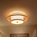 Asian Style Cage Flushmount Lighting Handmade Bamboo 3-Light Flush Lamp with White Inner Shade