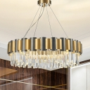 Tiered Icicle Pendant Lamp Simplicity Clear Crystal 8/12-Light Golden Hanging Chandelier