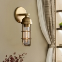 Gold Finish 1 Bulb Wall Mounted Lamp Vintage Metal Oblong Wall Mounted Light Fixture, 10.5