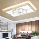 LED Rectangle Flush Mount Lamp Modern White Crystal Ceiling Mounted Fixture for Living Room in 3 Color Light