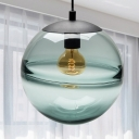 Modern Globe Hanging Ceiling Light Blue/Coffee Glass 1 Head Dining Room Pendant Lighting, 8