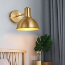 Single Brass Wall Mount Reading Lamp Minimalism Golden Dome Shape/Flared Sconce Lighting Fixture