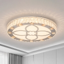 White Disk Ceiling Light Modern Acrylic LED Flush Mount Light with Crystal Accent