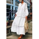 White Ethnic Style Long Sleeve V-Neck Ruffled Trim Bow-Tied Patched Lace Oversize Maxi Swing Dress for Female