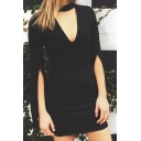 Stylish Dressy Black Detached Sleeve Choker Hollow Mini Bodycon Dress for Party Girls