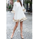 Ladies Ethnic Three-Quarter Sleeve Round Neck Tassels Sequined Plain Short Oversize Boho Swing Dress